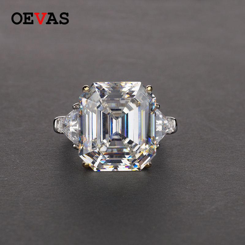 2019 fashion brand Big rectangle AAAAA Zircon Wedding rings for women Top quality S925 Silver Pink