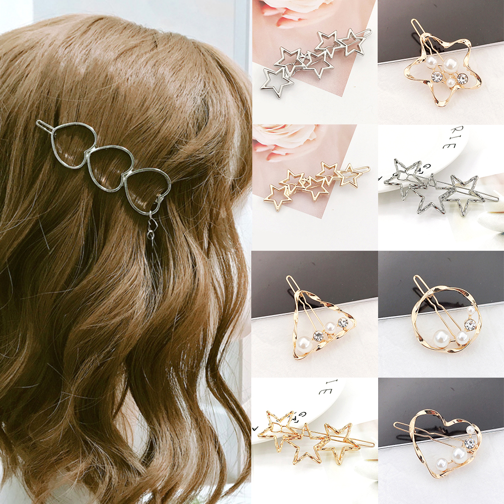 New Elegant Metal Hair Accessories Alloy Holder Hairpins Hearts Stars Hair Clips For Womens Barette Cheveux Girls Hairgrip
