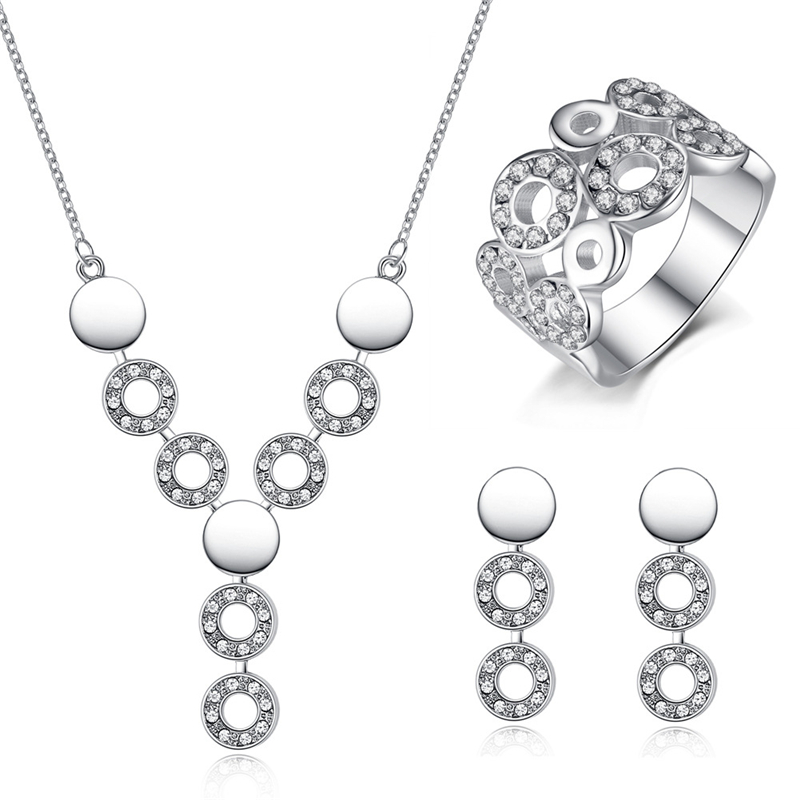 be7bbe5a19 Crystal From Swarovski Bridal Jewelry Sets Magic Circle Classical Necklace/ Earrings/Ring Wedding Engagement