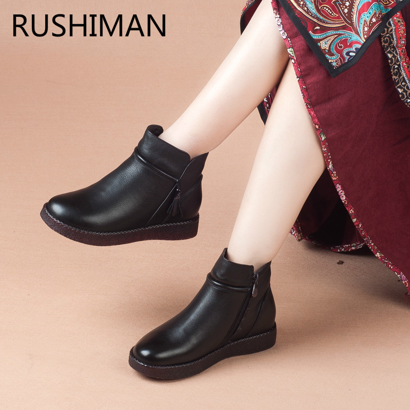 Smooth US35 Boots black boots35 Winter New Shoes Leather 40 Soft Warm Mother and Style 67 Girl Old 53OFF RUSHIMAN Velvet Middle in Retro National c35jqRLS4A