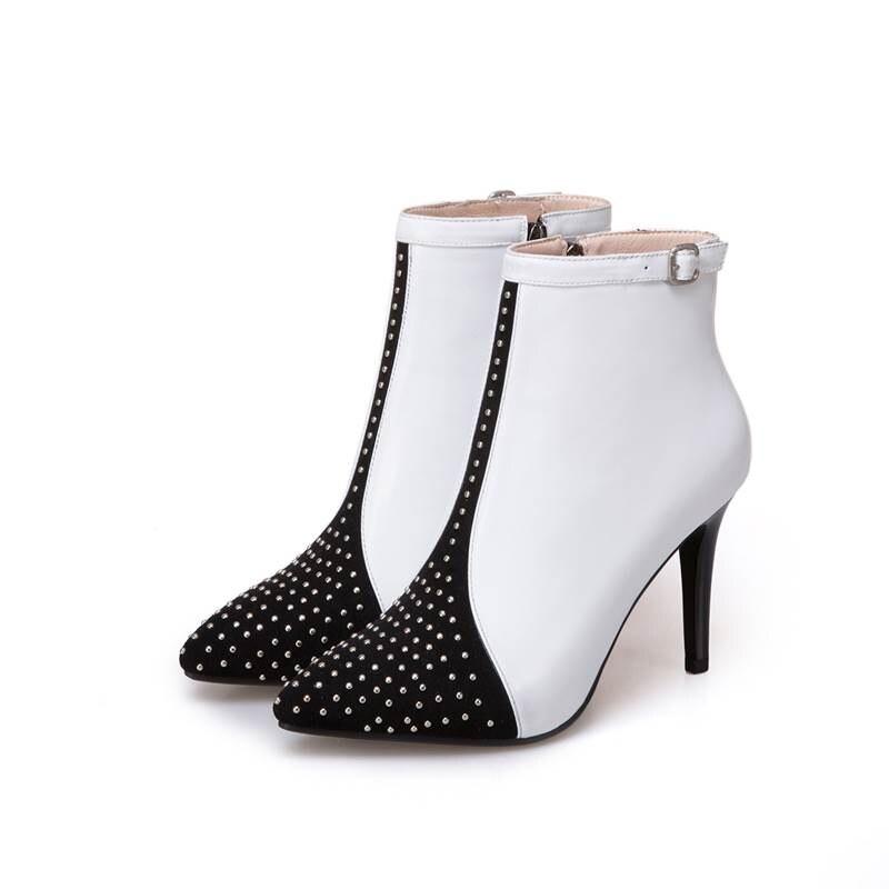 Noir 2018 Polka Cheville blanc Asumer Bottes Dot Véritable 33 Taille Pour Stiletto 43 Femmes Talons Cuir Zip Haut Automne En Mode Nouvelle q4wRSFwt