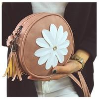5 Pcs Of 1 Pink PU Leather Female Models Retro Fashion Flowers Tassel Small Round Bag