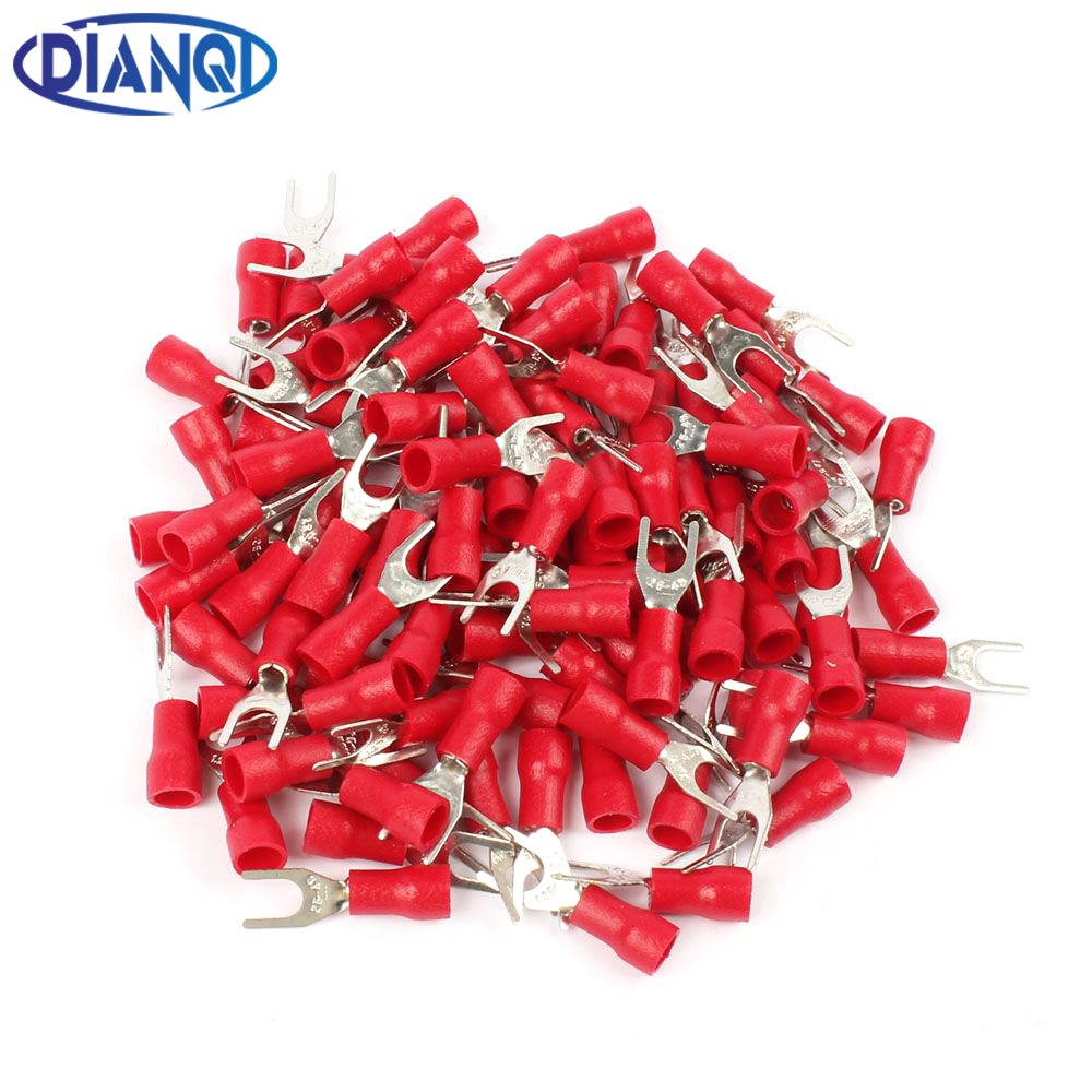 DIANQI SV1.25-4 Red Furcate Fork Spade 22~16AWG Wire Crimp pressed terminals Cable Wire Connector 100PCS/Pack SV1-4 SV shimano deore fc m610 fc m612 m615 aluminium 3x10 2x10 speed crankset with bb51