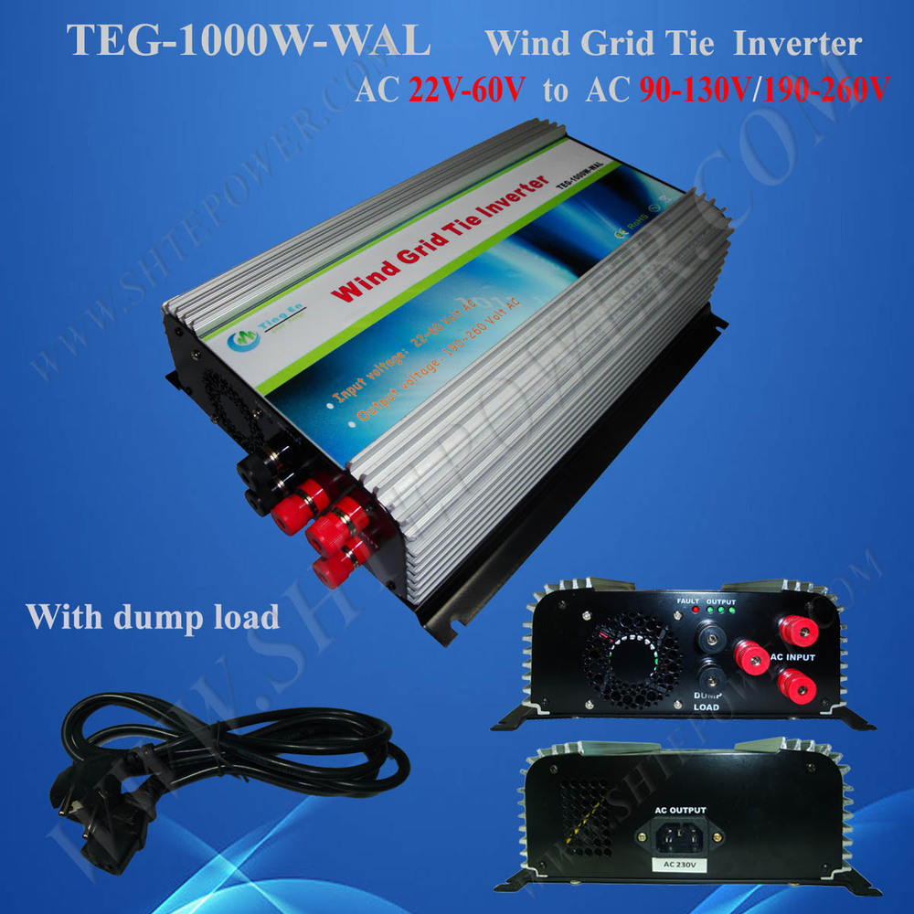1000w On Grid Tie Wind Inverter 1KW,Dump Load Controller,For 3 Phase Wind Turbine,AC 22v-60V AC 220V, 230v, 240v new 600w on grid tie inverter 3phase ac 22 60v to ac190 240volt for wind turbine generator