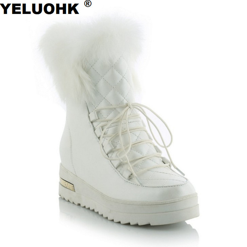 Plus Size 43 Waterproof Ankle Boots Female Winter Shoes Fashion Winter Fur High Boots Women Shoes Warm Plush Snow Boots Women zorssar 2017 new classic winter plush women boots suede ankle snow boots female warm fur women shoes wedges platform boots