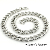 Silver Figaro Necklace Men S Stainless Steel Necklace Chain Jewelry Fashion 55cm Long 12mm Wide Wholesale