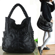 2016Fashion Genuine Leather Women Handbag Patchwork Natural Sheepskin Shoulder Bag Ladies Black Casual Tote sac Bolsa Femininas