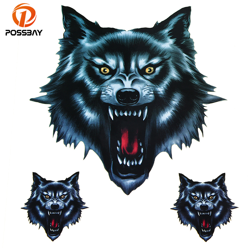 The Cheapest Price Possbay Skull Head Fire Flame Wolf Head Decal Funny 3d Animal Sticker For Motorcycle Car Window Door Stickers Truck Helmet Decor Activating Blood Circulation And Strengthening Sinews And Bones Car Stickers
