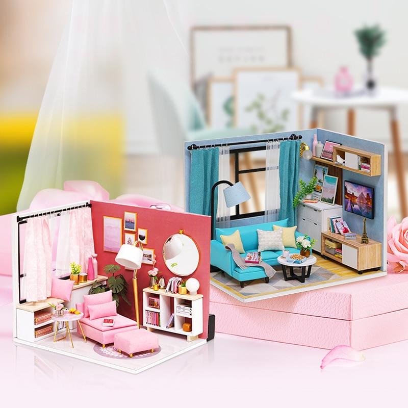 Новая мебель кукольный дом деревянный миниатюрный DIY кукольный домик набор мебели сборный Кукольный дом игрушки для рождества детский подарок для девочки