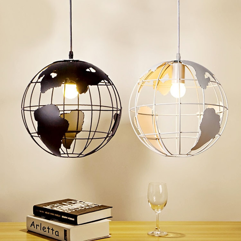 Retro Indoor Lighting Vintage Pendant Lights Globe Iron Cage Lampshade Warehouse Style Light Fixture Scandinavian Retro Lights