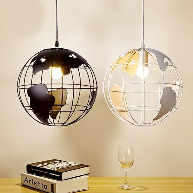 Retro Indoor Lighting Vintage Pendant Lights Globe Iron Cage Lampshade Warehouse Style Light Fixture Scandinavian