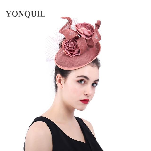 Dark peach Fascinators Hat veils Mesh Cocktail Tea party hat flower Royal  Ascot hair clips wedding headdress elegant headpieces e56fa07b761