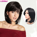 long bob wigs with bangs cheap synthetic wigs for black women artificial hair look as real pruiken synthetische sentetik peruk