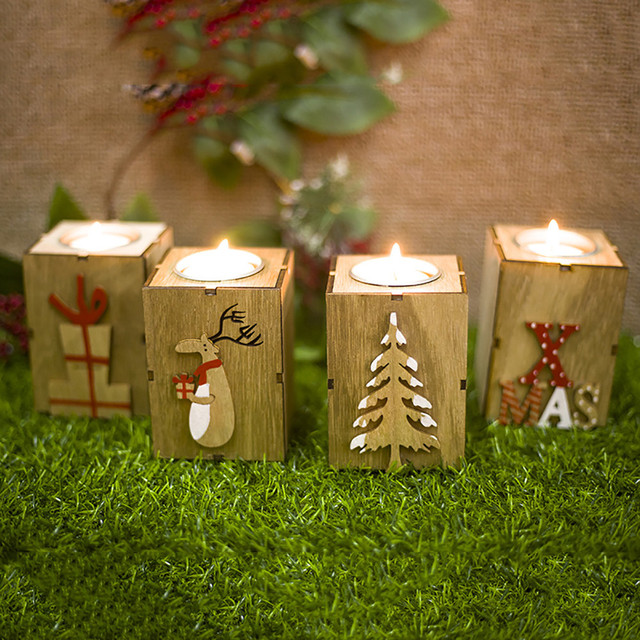 2018 New Christmas Creative Gifts Decoration Mini Wooden Candlestick Christmas Decorations For Home