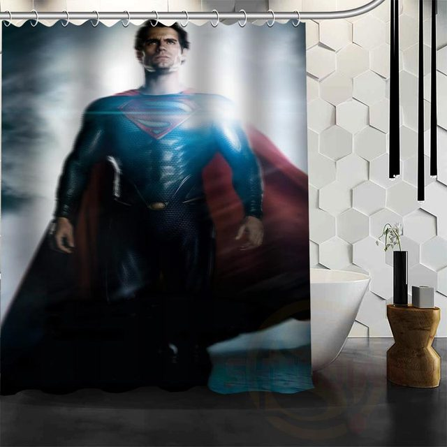 Best Nice Custom Superman Shower Curtain Bath Waterproof Fabric For Bathroom MORE SIZE WJY197
