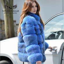 Tatyana Rich Fox Fur Coat,100% Real fur Coats Short Jacket,Top Quality Winter Coat Female Jacket,Fox Thick Collar 2018