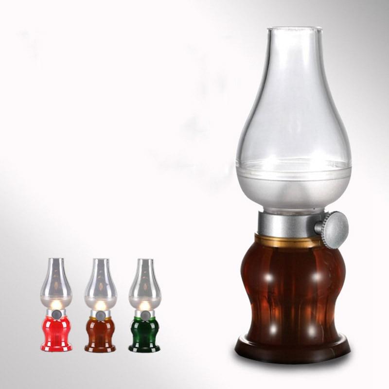 Super Cool Bureau LED Bougie Vintage Coup LED Nuit Lumière Kérosène Style Table 0.3 W Réglable Luminosité Éclairage USB Recharge
