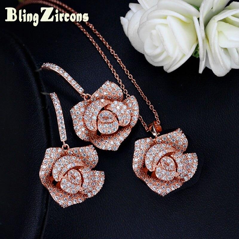 BeaQueen Romantic Rose Gold Color Big Flower Drop Earring Pendant Necklace Set Cubic Zirconia Crystal Weddind Jewelry JS113
