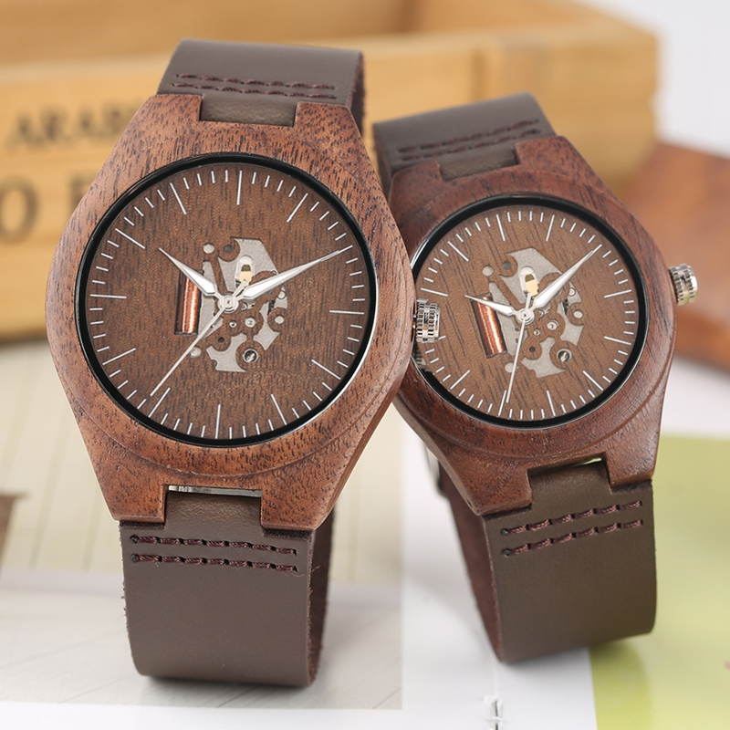 Top Lovers Walnut Wood Watches Retro Stripe Men's Skeleton Hollow Dial Clock Leather Creative Wooden Watch Gifts For Men Women