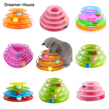 Tower of Tracks Ball and Track Interactive Toy for Cats, Fun Cat Game Intelligence Triple Play Disc Cat For Toy Balls все цены