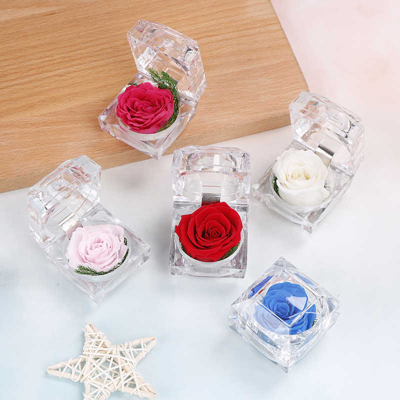 Immortal Preserved Fresh Flower Rose Ring Box Wedding Creative Gift Box Fashion Valentines Engagement Box Jewellery Packing Box