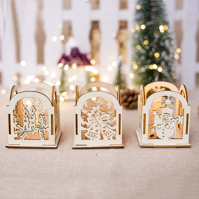 Christmas Candle Holders Home Decor Christmas Creative Gifts Decoration Mini Wooden Hollow Candlestick Home Decoration #20T