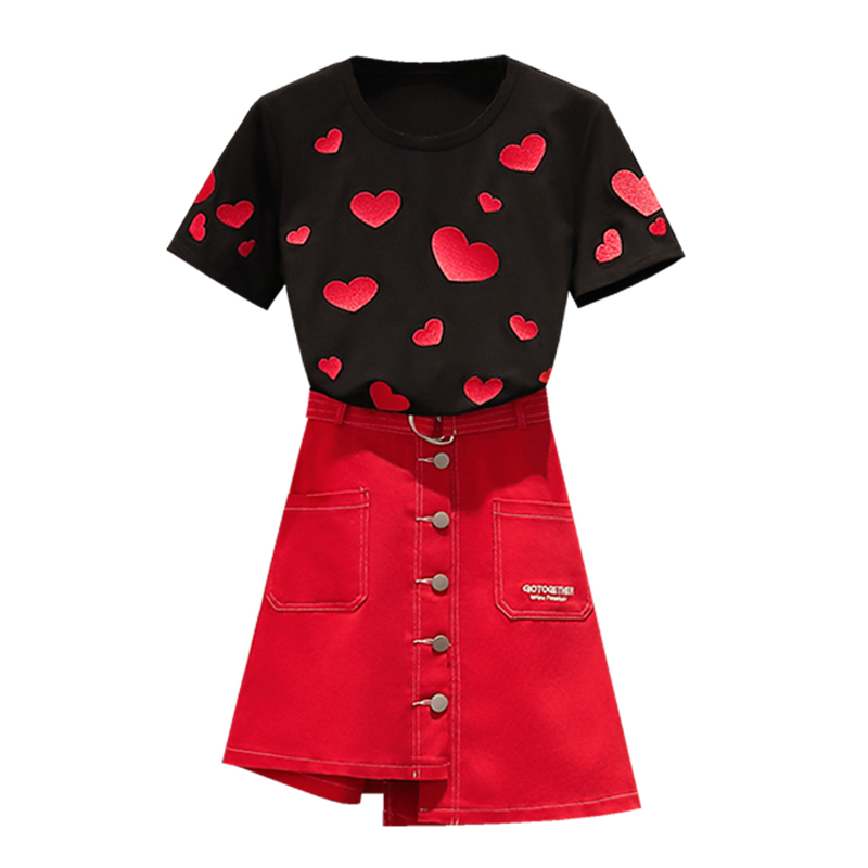 Big Yards  Women Short Sleeve Top & Red Skirt Embroidered Coat Two-Piece Outfit Women Clothing Set Vestido Suit Shirt Love  SALE
