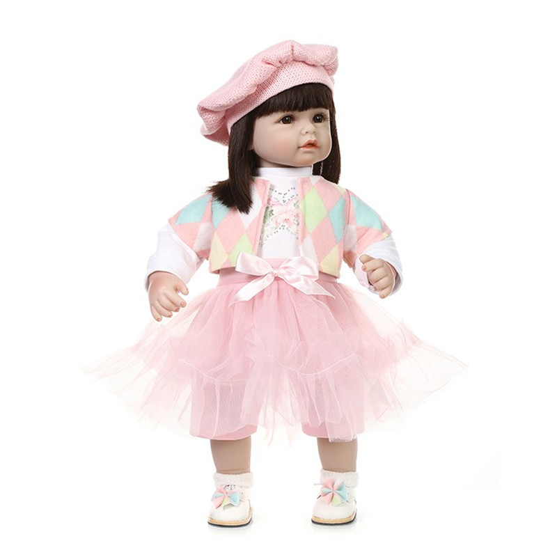 Lifelike silicone vinyl baby dolls toys cute princess toddler girls doll baby sleeping toy birthday gift/present for children new arrived vinyl lifelike princess doll 45cm girl dress up children toy birthday present