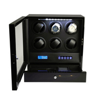 Relógio de luxo dobadoura relógio automático display para 6 relógios com controle remoto y