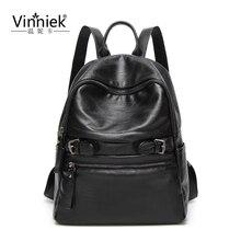 Vinniek рюкзак женский, черный рюкзак на молнии школьные сумки для девочек-подростков большой Bagpack из мягкой искусственной кожи ноутбук рюкзак Mochila
