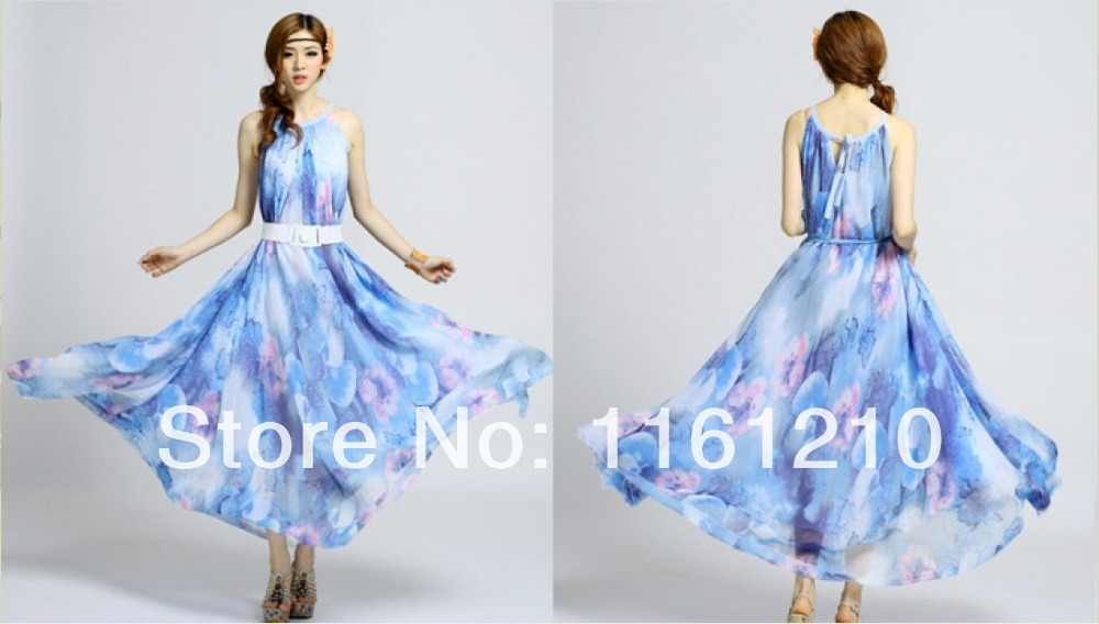 249880ae0f317 US $33.3 |Blue Bohemian Style Floral Summer Beach Maxi Dress Holiday Long  Party Gown Maternity Baby Shower Wedding Shower Dress-in Dresses from ...