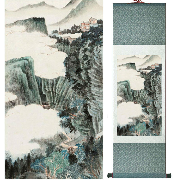 Zhangdaqian Mountain and River painting Chinese scroll painting landscape art painting home decoration painting0402012