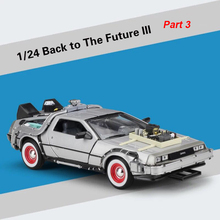 цена на 1/24 Scale Metal Alloy Car Diecast Model Part 1 2 3 Time Machine DeLorean DMC-12 Model Toy Welly Back to the Future Collecection