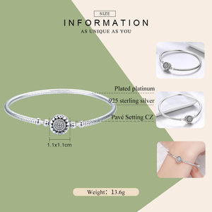 Image 2 - WOSTU New Collection 100% 925 Sterling Silver Bright Heart AAA Zircon Women Snake Chain Bracelet Sterling Silver Jewelry CQB059