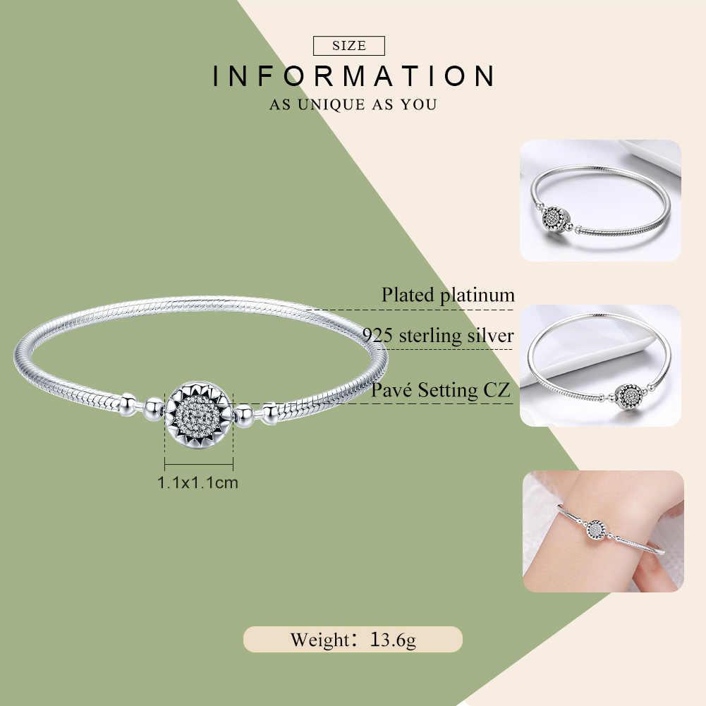 WOSTU nowa kolekcja 100% 925 srebro jasne serce AAA cyrkon damski łańcuszek typu wężyk bransoletka srebro biżuteria CQB059
