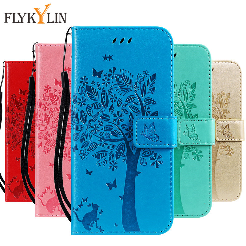 For Huawei P Smart 2019 Case Leather Cover for Coque 3D Tree Cat Wallet Flip Magnet Etui