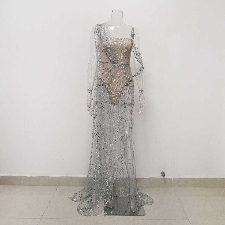 Image 4 - JillPeri Women Strapless Sequin Dress Long Luxury Bling Stars  Silver Gown Leg Open Outfit Party Wear Sexy Bodysuit Maxi DressDresses