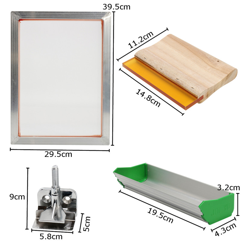 5Pcs/Set Screen Printing Kit Aluminum Frame + Hinge Clamp + Emulsion Scoop Coater + Squeegee Screen Printing Hand Tool Parts5Pcs/Set Screen Printing Kit Aluminum Frame + Hinge Clamp + Emulsion Scoop Coater + Squeegee Screen Printing Hand Tool Parts