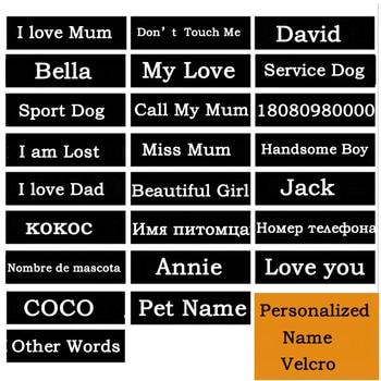 2 piezas de nombre de Perro arnés nombre Velcro 3cm * 11cm arnés de perro mascota evaluación para arnés personalizado