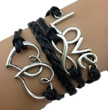 Custom European style double heart symbol word love 8 unlimited multilayer woven leather bracelet