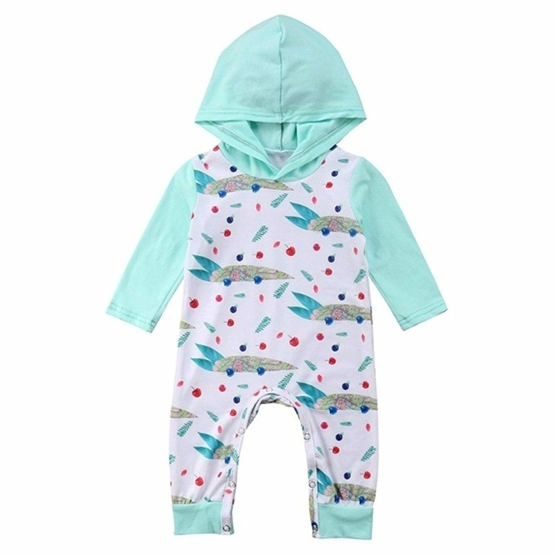 Infant Baby Girl Long Sleeve Hooded Romper Jumpsuit Playsuit One Piece Clothes Outfits in Clothing Sets from Mother Kids
