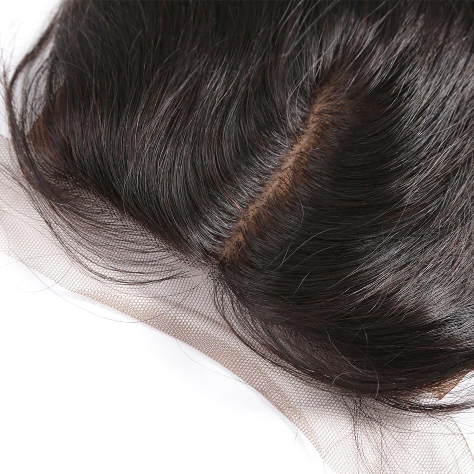 Покер лицо тела волна Remy закрытие средняя часть кружева бразильские 10 18 дюймов шелковая основа натуральный цвет человеческие волосы - 4