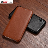 XOOMZ Fashion Litchi Pattern Head Layer Cowhide Cover For iPhoneX 360 Protection Genuine Leather Flip Case For iPhoneXS Max 6.5