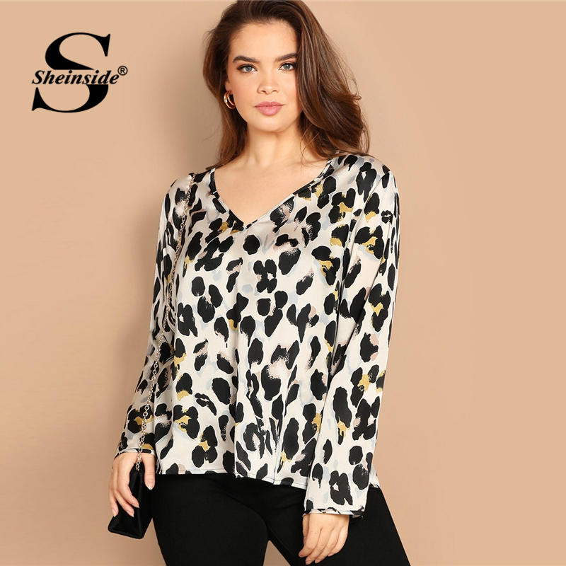 Sheinside Plus Size V Neck Satin Top Women Leopard   Blouse     Shirt   2019 Spring Womens Clothing Long Sleeve Ladies Tops And   Blouses