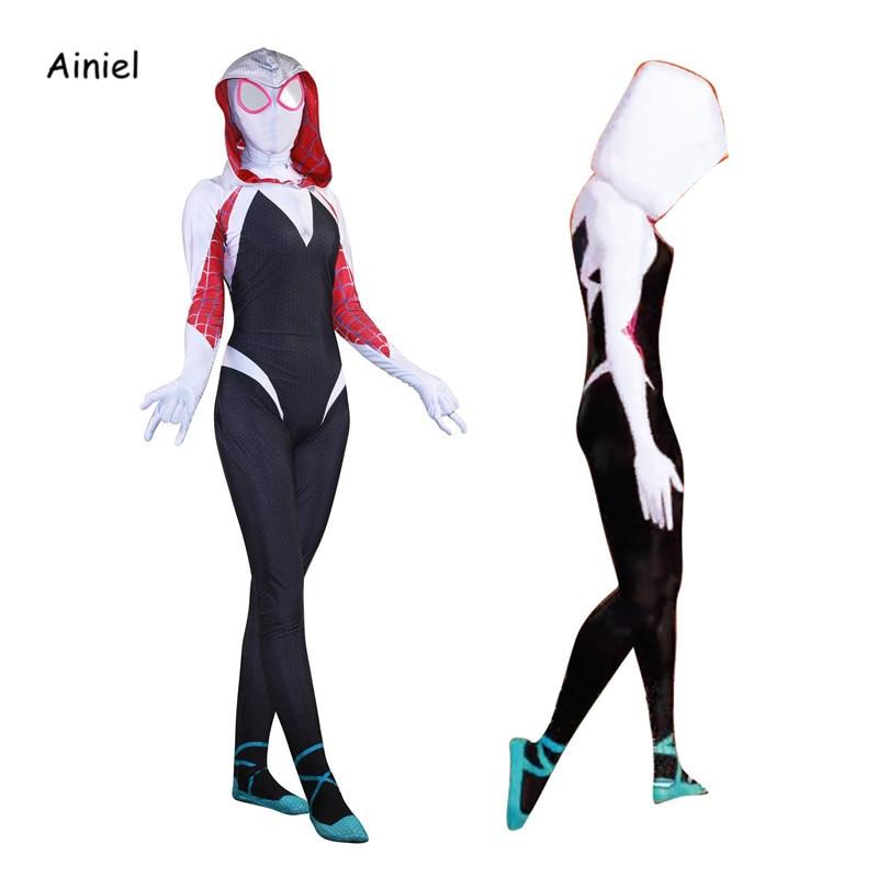 2019 Spider-Man Into the Spider-Verse Gwen Kids Cosplay Costume Zentai Suit