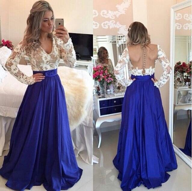 d3a96bd5bb 2019 A-line White Royal Blue Two Toned Long Sleeves Lace Taffeta A-line  Evening Dresses Gowns Sheer Back Sexy V Neck Custom