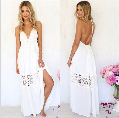 2018 NEW Summer Women Hollow Out Maxi Long Party Casual Beach Dress Sleeveless Sexy-V Cocktail BOHO Dresses Drop shipping Gift