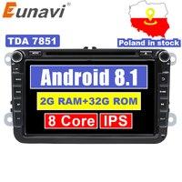 Eunavi 2 Din 8'' Octa core Android 8.1 car dvd for VW Polo Jetta Tiguan passat b6 cc fabia mirror link wifi Radio CD in dash