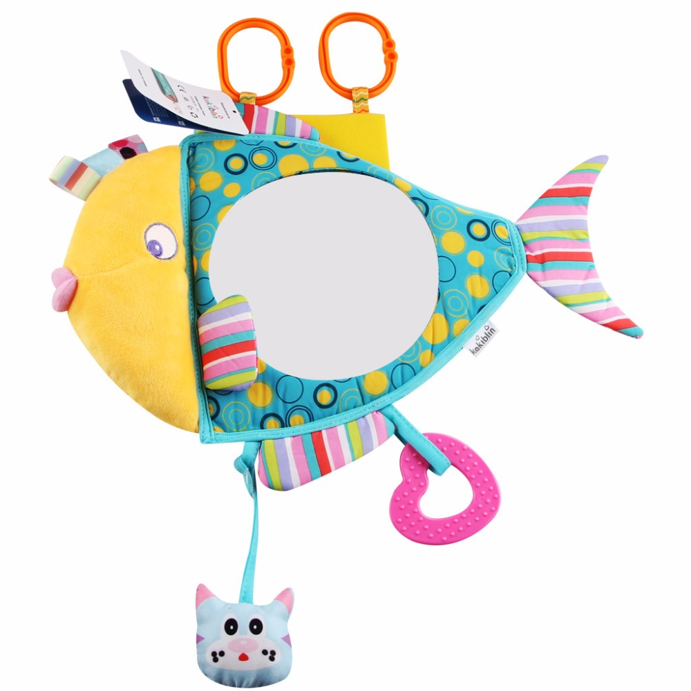 1pc Kawaii Baby Car Seat Fish Mirror Stuffed Toy Plush Toy Safe Driving infant Backseat Toy New Born High quality Gifts For Baby