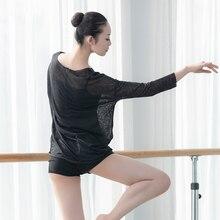 dance T shirt adult dancewear sheer long sleeve tops for practice class women jazz lyrical
